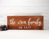 Family EST Wood Sign Made From Up Cycled Wood- Bride And Groom- Country Wedding- Rustic Wedding- Farmhouse Decor- Personalized