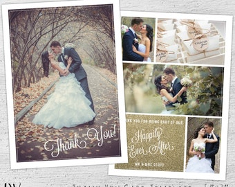Wedding Thank You Card Template, Photoshop Template, Wedding Photography Marketing, Thank You Card, Wedding Thank You Cards Photo, 03-001-PV