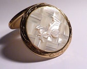 Vintage compacts mother of pearl rickshaw compact PEARL WEDDING ANNIVERSARY gifts 20th wedding anniversary bridesmaids gifts