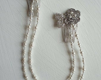 Diamante rose and pearl Vintage drapes double comb bridal headpiece