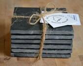 Slate Coasters - Set of 6 - Black Maine Slate Coaster Set