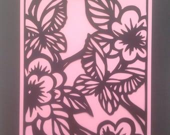 Die Cut Silhouette Art/Ready to Frame/Butterflies & Flowers