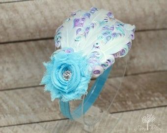 Light Blue Feather Headband - White Lavender and Light Blue Feather Headband - Light Blue Headband- Baby Headband - Adult Headband