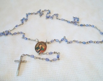 Vintage Violet Purple First Communion Rosary Beads Religious Catholicism Christianity