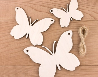 Wooden Butterfly Garland or Bunting Decoration 10 piece Set