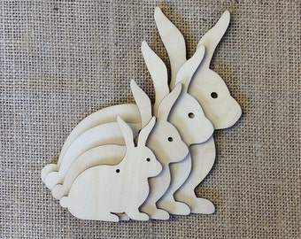 BUNNY RABBITS wooden Childrens Hanging Craft Decoration or Gift Tag