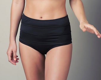 Black high waisted bikini bottoms, high waist bikini, bikini bottoms, black bikini, high waist swimwear, retro bikini -womens swimwear