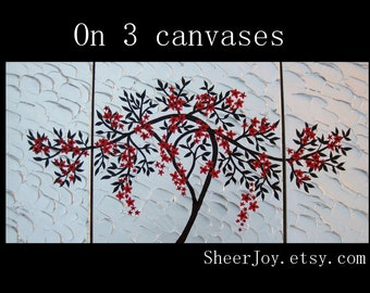 """red and black painting, red and black paintings, with cherry blossom , red art, 3 canvases, tree art, tree of life, painting, 48"""" x 24"""""""