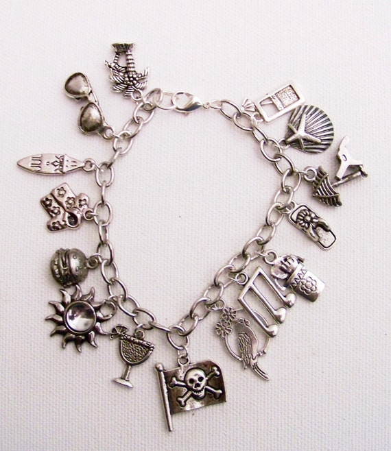 Jimmy buffett charm bracelet hamburger in by for Jimmy s fine jewelry