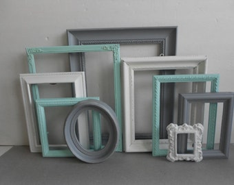 custom picture frames gray grey white aqua seafoam collection vintage ornate baby nursery shabby chic distressed gallery wall