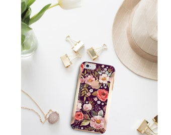 Platinum Edition Midnight Floral Medley with Rose Gold Detailing Hybrid Hard Case Otterbox Symmetry iPhone 6 / iPhone 7 / Galaxy S7