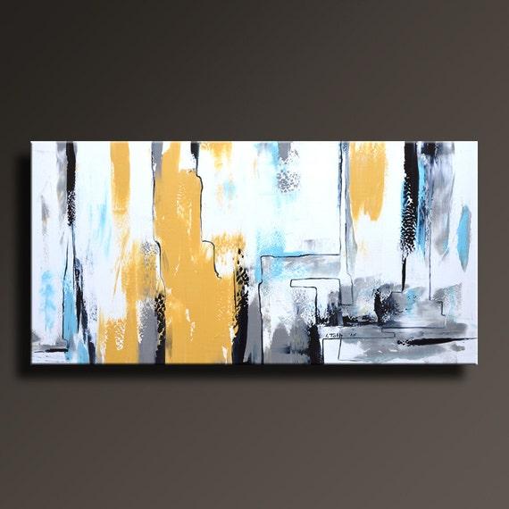 Peinture abstraite jaune gris blanc noir bleu peinture toile for Peinture abstraite moderne