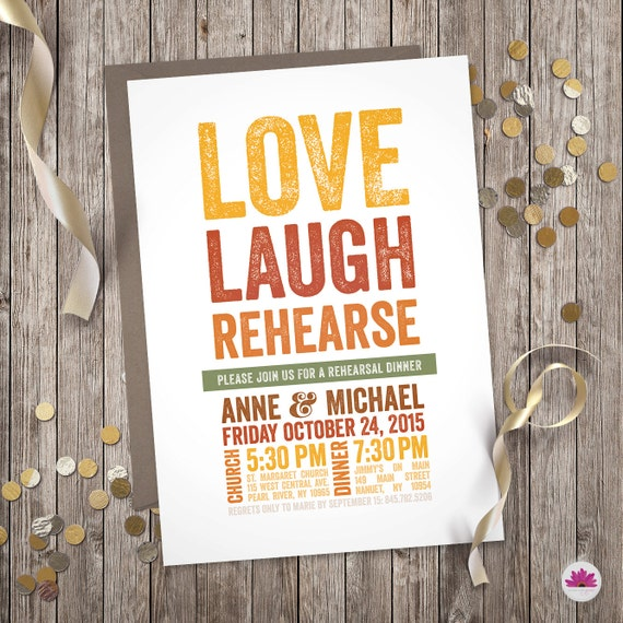 Love And Laughter Rehearsal Dinner Invitation Digital Design: Love Laugh Rehearse Rehearsal Dinner Invitation Digital