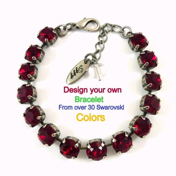 Design Your Own Custom Bangle Charm Bracelet Pick Your Charms: Swarovski Crystal 8mm Tennis Bracelet Design Your Own Solid