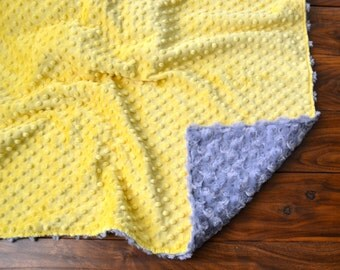 Yellow and Gray Rosette Blanket - Ultra Soft Minky Blanket - Personalized Yellow and Grey Baby Blanket