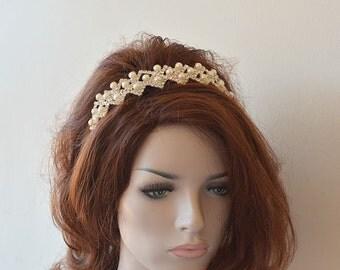 Bridal Pearl Tiara, Wedding  Pearl Tiara, Bridal Headpiece,  Pearl Wedding Headband, Pearl Wedding Hair Piece
