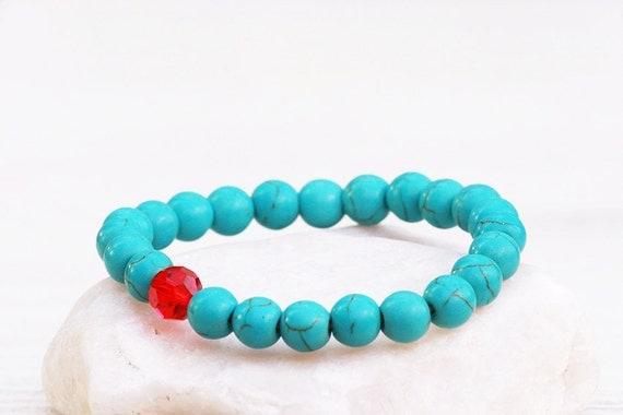 Turquoise Bracelet, Gemstones Bracelet, Blue Bracelet, Stretch Bracelet, Jewelry Gift, Swarovski bracelet, Summer bracelet, Gift for her