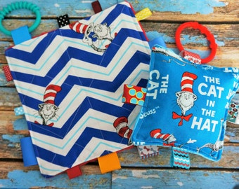"""Baby toys, crinkle toys, cat in the hat,  set of two, SALE PRICED,  7"""" and 5"""", with teething links,  Babies love te sound.  Teething toys."""