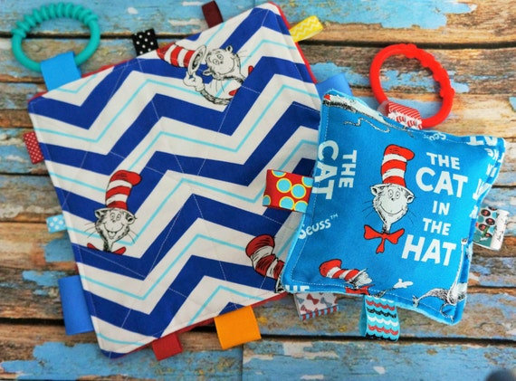 "Baby toys, crinkle toys, cat in the hat,  set of two, SALE PRICED,  7"" and 5"", with teething links,  Babies love te sound.  Teething toys."