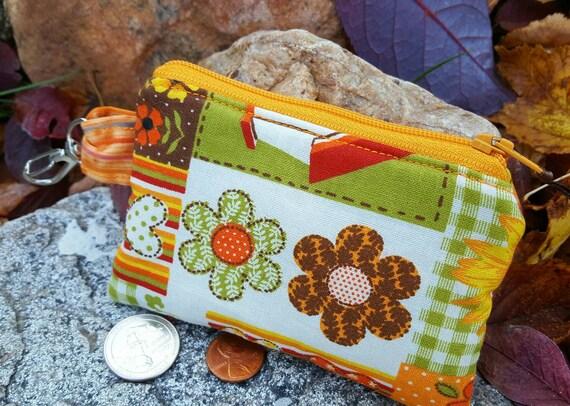 Autumn Coin Purse, Ladies Zipper Wallet, Floral Change Purse