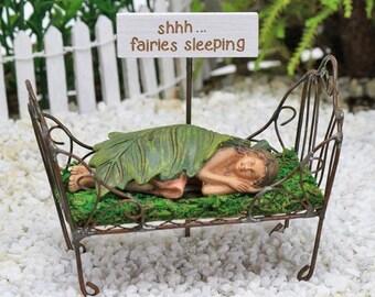 Fairy Garden Accessories Bed - sleeping fairy - miniature furniture - shhh...fairies sleeping sign