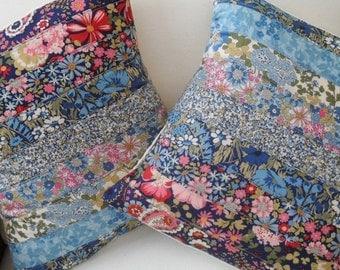 blue floral patchwork cushion, decorative pillow,