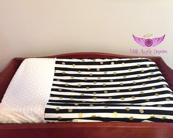 Black, White and Gold Dot and Stripe and White Minky Changing Pad Cover