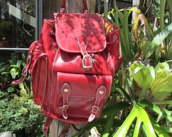 Red Leather Backpack messenger bag Italy Large Multi Compartments Heavy and sturdy