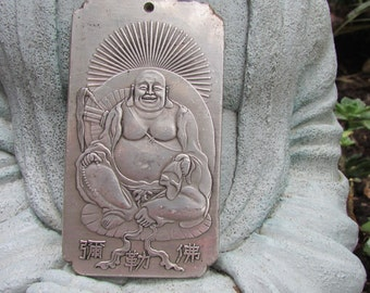 Happy Buddha Plaque Prayer Card Amulet