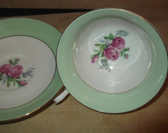 Vintage tea Duo, Cup & Saucer Mint Green / Pink Roses