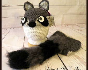Crochet Baby Raccoon Hat and Diaper Cover with Fluffy Tail/Photo Prop