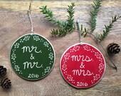 Same sex wedding ornament, MRS. & MRS. 2016