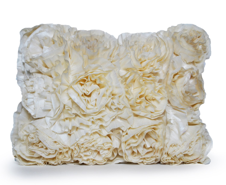 Throw Pillows Ruffle : Ruffled Accent Pillow Ivory Throw Pillow Decorative Pillow