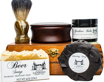 Deluxe Shaving Kit - Shaving Set - badger shaving brush - mens christmas gifts - wood shaving bowl - mens gifts - gifts for dad - gifts