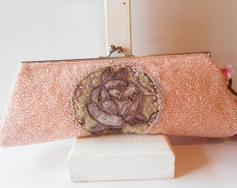 Peach Beaded Evening Bag, Vintage Evening Purse, Peach Purse, Clutch Handbag, Wedding Bridal, Peach Bead Bag, Evening PurseEB-0203