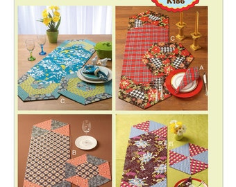 Kwik Sew 0186 Hexagonal Napkins, Placemats and Runners Sewing Pattern, new uncut,