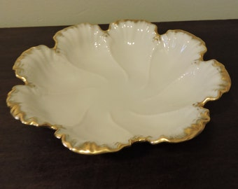 Vintage Lenox 24 kt Beautifully  Hand Decorated Scalloped Porcelain  Shell Beaded Bowl