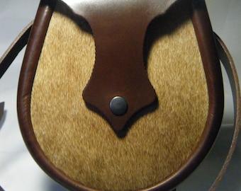 Handmade Brown Hair on Leather Ness Sporran