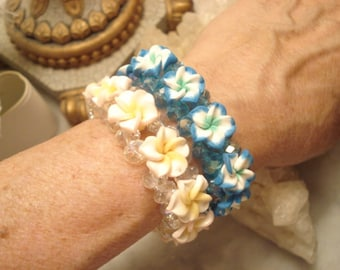 Two Vintage Handcrafted Rubber Flower And Glass Crystal Beaded Stretch Bracelet