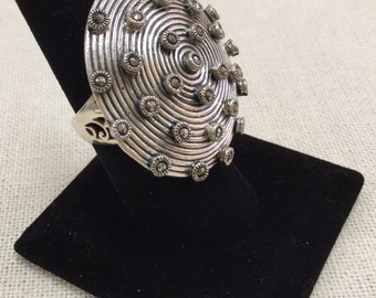 Vintage 925 Sterling Silver Very Detailed Ring With Marcasite !!!!