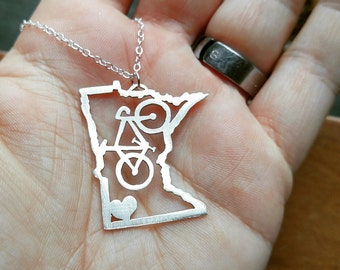 Minnesota Heart & Bicycle sterling silver necklace