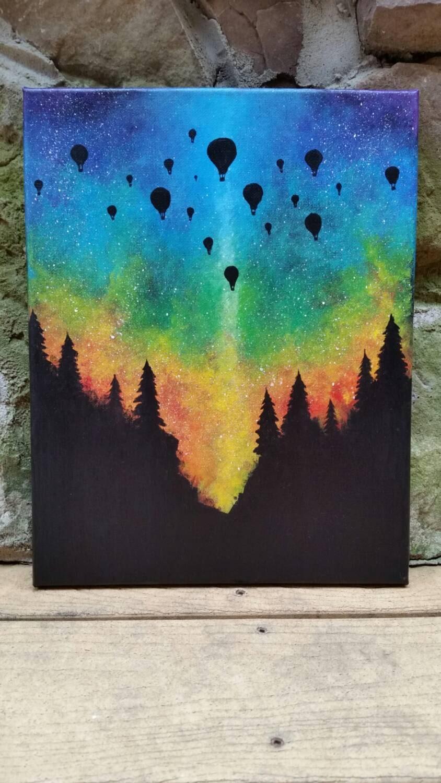 Hot Air Balloon Forest Woods Rainbow Northern Lights