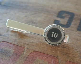 "UPcycled #10 Typewriter Tie Clip ""10"", Great Gift for Him, Stainless Repurposed Type Writer Keys, Authentic, Cuff Links also available"