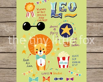Art Print - Leo the Lion - 210x297 mm