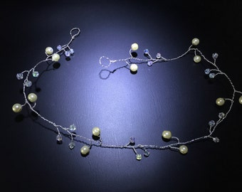 Bridal wedding pearl and crystal 17 inch hair vine headdress headpiece