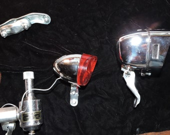 Old Bicycle Generator Lamp and Tail Light Set.