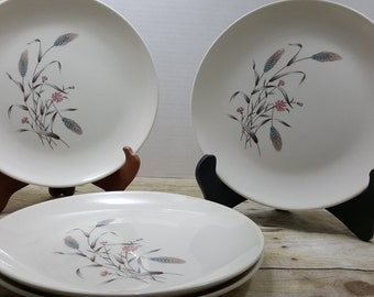 Set of 4 Mid Century Dinner Plates, 1960s, pink and teal