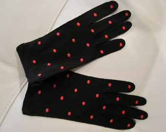 BLACK Gloves with RED POLKADOTS