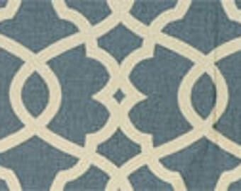 Handmade Table Runner 13W x 72L in Waverly Blue/Natural Print, Ready To Ship