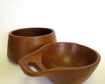 Pair of Vintage Solid Teak Serving Bowls